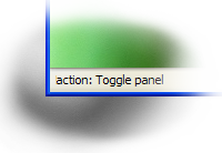 Status bar screenshot with the text 'action: Toggle panel'